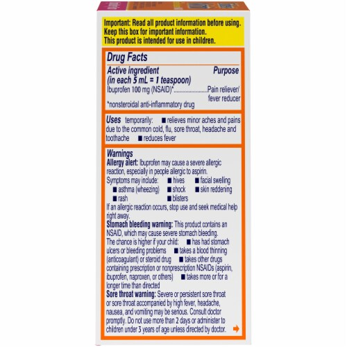 Motrin Children's Original Berry Flavor Pain Reliever & Fever Reducer Perspective: right