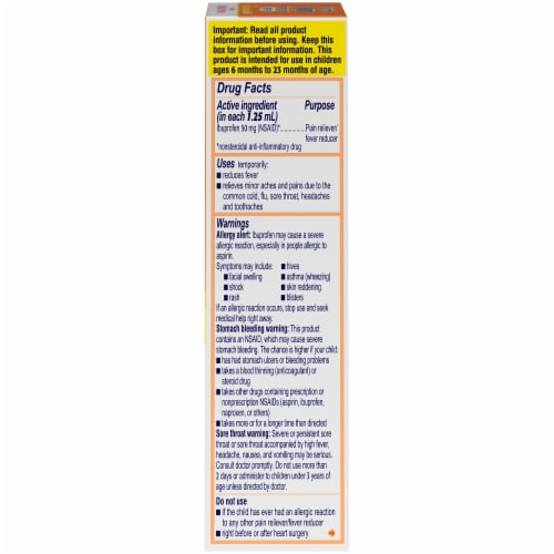 Motrin Infants' Drops Dye-Free Original Berry Ibuprofen Oral Suspension Perspective: right