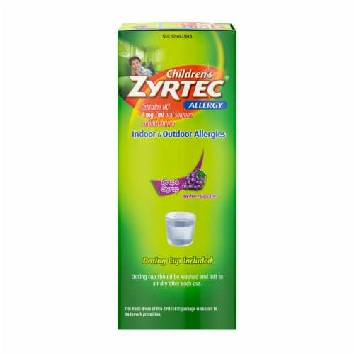 Zyrtec Children's Allergy Dye-Free Sugar-Free Grape Syrup Perspective: right