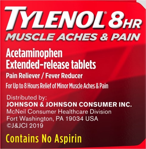 Tylenol 8-Hour Muscle Aches & Pain Caplets 650mg Perspective: right