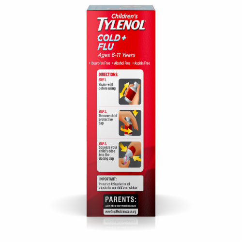 Children's Tylenol Cold & Flu Relief Bubblegum Flavored Oral Suspension Perspective: right