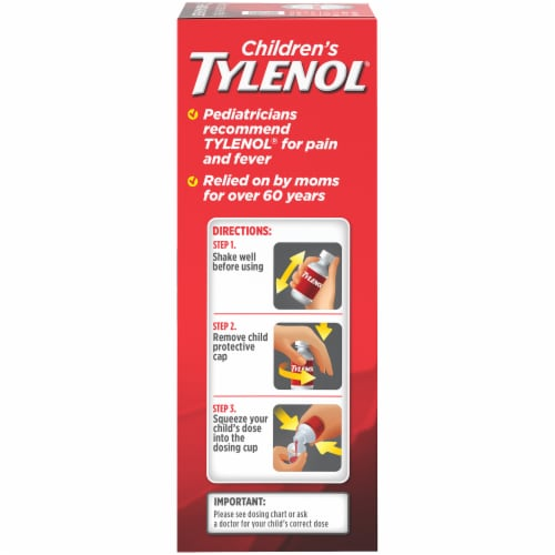 Children's Tylenol Pain + Fever Bubblegum Flavor Oral Suspension Perspective: right