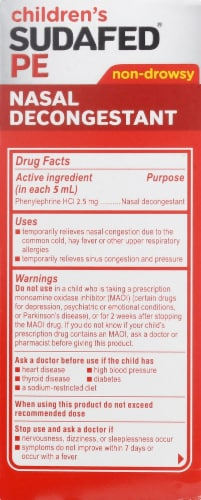 Sudafed PE Children's Berry Flavor Non-Drowsy Nasal Decongestant Liquid 2.5mg Perspective: right