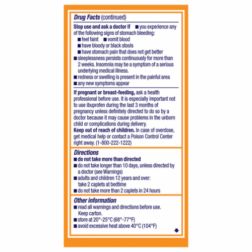 Motrin PM Pain Reliever & Nighttime Sleep-Aid Coated Caplets 200mg Perspective: right