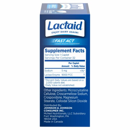 Lactaid Fast Act Lactose Intolerance  Lactase Enzyme Caplets Perspective: right