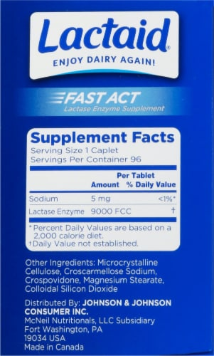Lactaid Fast Act Lactase Enzyme Supplement Perspective: right