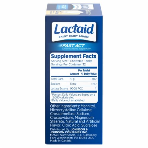 Lactaid Fast Act Vanilla Chewables Perspective: right