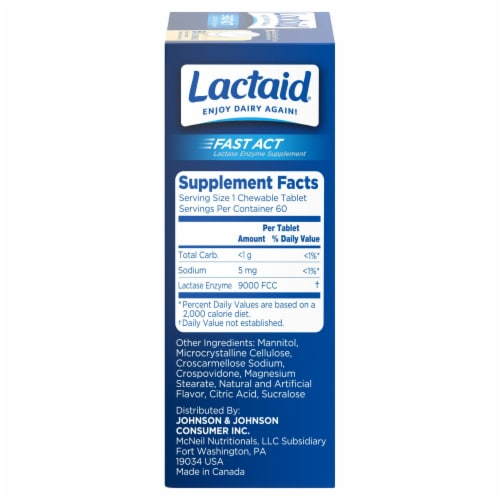 Lactaid Fast Act Vanilla Twist Flavor Lactase Enzyme Supplement Chewable Tablets Perspective: right