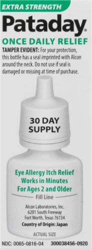 Pataday Once Daily Extra Strength Eye Allergy Itch Relief Solution Perspective: right