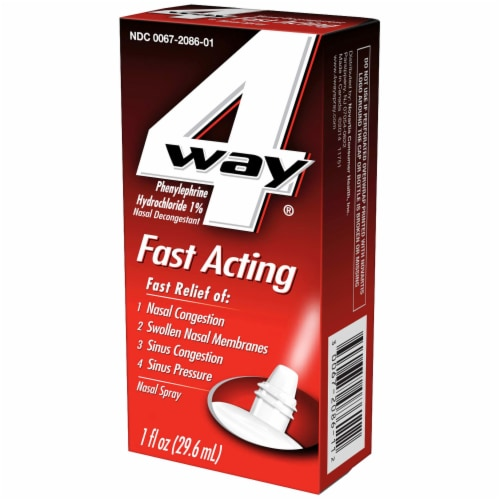 4 Way Fast Acting Phenylephrine Hydrochloride Nasal Decongestant Spray Perspective: right