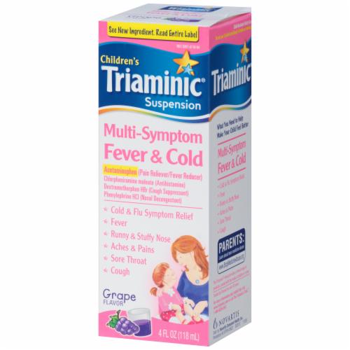 Triaminic Children's Grape Flavored Multi-Symptom Fever & Cold Liquid Medicine Perspective: right