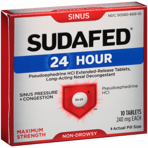 Sudafed 24-Hour Non-Drowsy Sinus Pressure + Congestion Maximum Strength Tablets Perspective: right