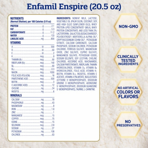 Enfamil Enspire Non-GMO Infant Formula Powder Refills Perspective: right