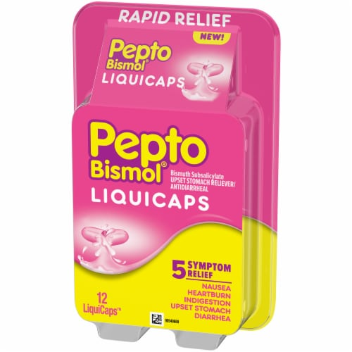 Pepto-Bismol Multi-Symptom Rapid Relief LiquiCaps Perspective: right
