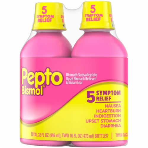 Pepto-Bismol 5 Symptom Relief Liquid Twin Pack Perspective: right
