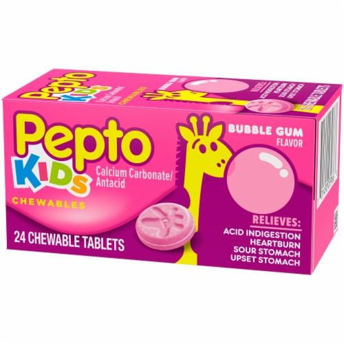 Pepto Kids Bubble Gum Flavor Antacid Chewable Tablets Perspective: right