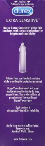 Durex Extra Sensitive Extra Lubricated Latex Condoms Perspective: right