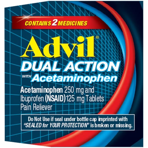 Advil Dual Action Acetaminophen & Ibuprofen Pain Relieving Caplets Perspective: right
