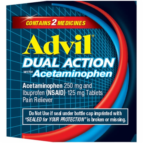 Advil Dual Action Acetaminophen & Ibuprofen Pain Relieving Caplets 36 Count Perspective: right