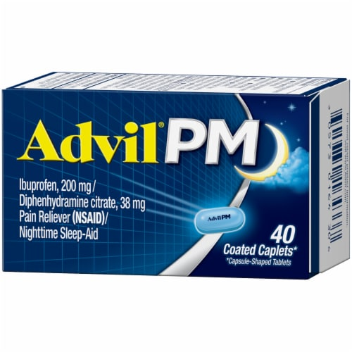 Advil PM Pain Reliever/Nighttime Sleep-Aid Ibuprofen Coated Caplets 200mg Perspective: right
