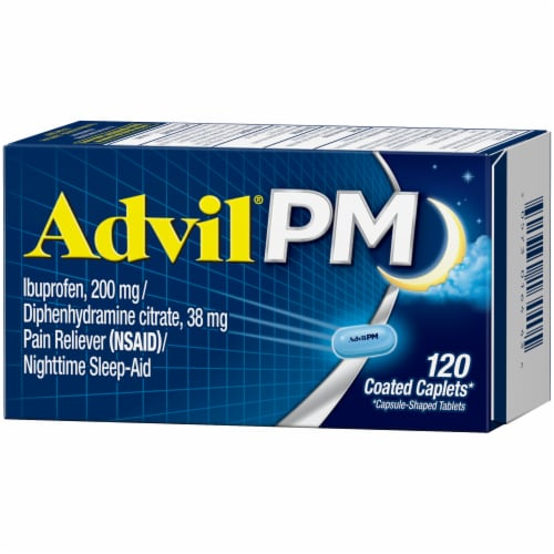 Advil PM Pain Reliever & Nighttime Sleep-Aid Coated Caplets Perspective: right