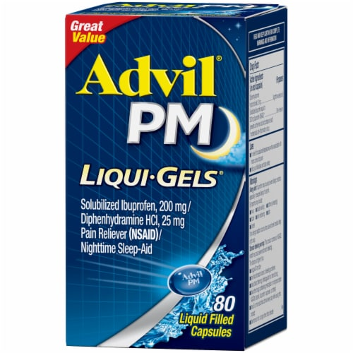 Advil® PM Liqui-Gels® Pain Reliever/Nighttime Sleep Aid Liquid Filled Capsules 80 Count Perspective: right