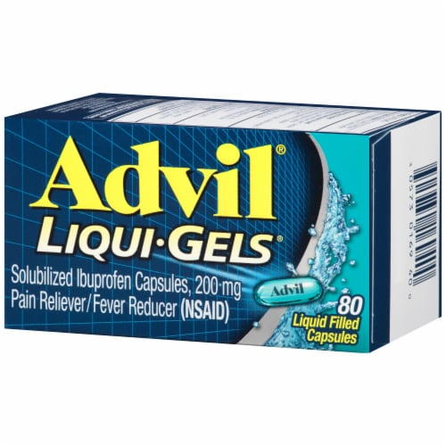 Advil Liqui-Gels Pain Reliever/Fever Reducer Liquid Filled Capsules 200mg Perspective: right