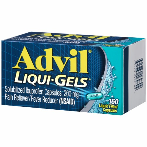 Advil Liqui-Gels Pain Reliever/Fever Reducer Ibuprofen Liquid Filled Capsules 200mg Perspective: right