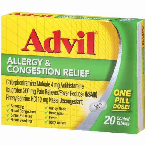 Advil Allergy & Congestion Relief Coated Tablets 200mg Perspective: right