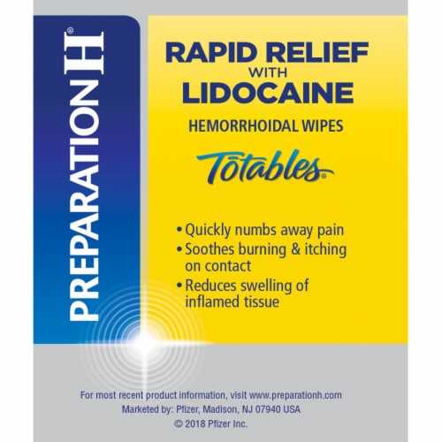 Preparation H Rapid Relief Lidocaine Totables Hemorrhoidal Flushable Wipes Perspective: right