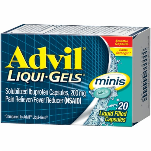 Advil Liqui-Gels Minis Pain Reliever/Fever Reducer Ibuprofen Liquid Filed Capsules 200mg Perspective: right