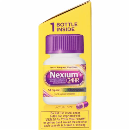 Nexium 24-Hour Delayed-Release Acid Reducer Clear Mini Capsules Perspective: right