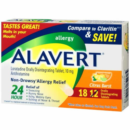 Alavert Citrus Burst Non-Drowsy Allergy Relief Orally Disintegrating Tablets Perspective: right