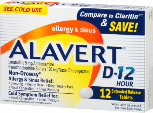 Alavert 12-Hour Non-Drowsy Allergy & Sinus Relief Extended Release Tablets Perspective: right