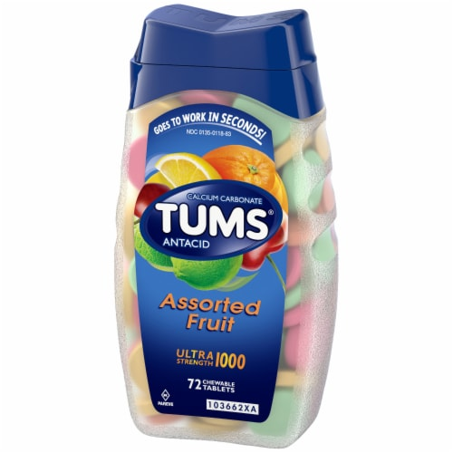Tums Assorted Fruit Ultra Strength Chewable Antacid Chewable Tablets Perspective: right