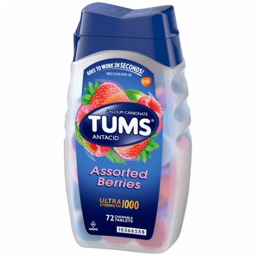 Tums Assorted Berries Ultra Strength Antacid Chewable Tablets Perspective: right