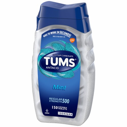 Tums Regular Strength 500 Mint Chewable Antacid Tabs Perspective: right