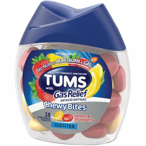 Tums with Gas Relief Lemon & Strawberry Chewy Bites Antacid Chewable Tablets Perspective: right