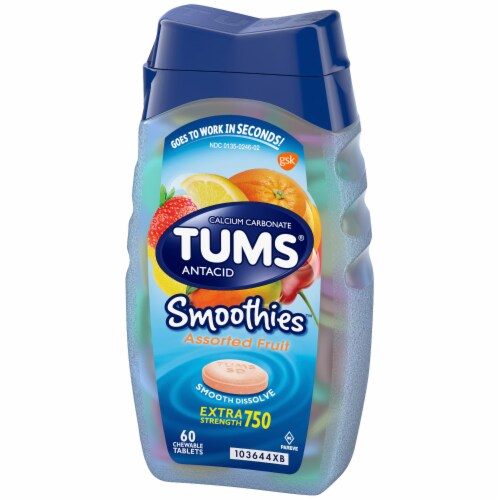 Tums Smoothies Assorted Fruit Extra Strength Antacid Chewable Tablets Perspective: right