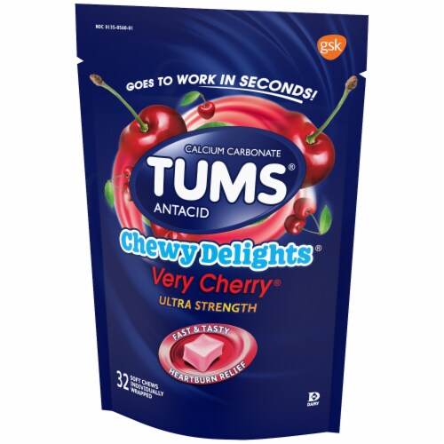 Tums Chewy Delights Very Cherry Antacid Soft Chews Perspective: right