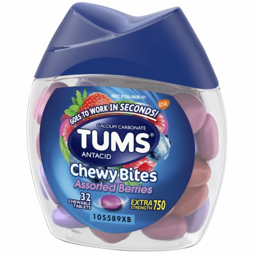 Tums Chewy Bites Assorted Berries Extra Strength Antacid Chewable Tablets Perspective: right