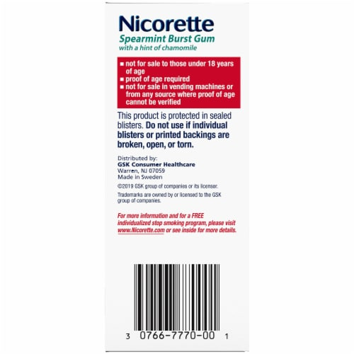 Nicorette Spearmint Burst Nicotine Gum 2mg 100 Count Perspective: right
