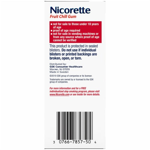 Nicorette Fruit Chill Nicotine Gum 2mg Perspective: right
