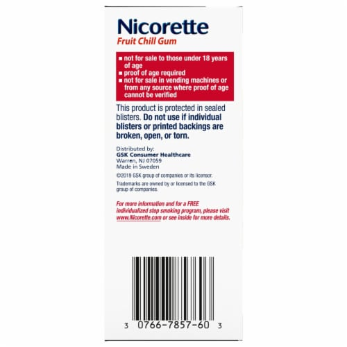Nicorette Fruit Chill Nicotine Gum 4mg Perspective: right