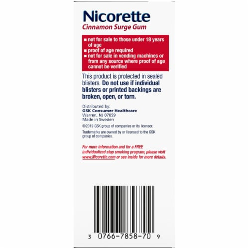 Nicorette Smoking Cessation Cinnamon Surge Nicotine Gum 4mg 100 count Perspective: right