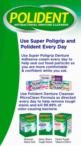 Polident 3 Minute Triple Mint Denture Cleanser Tablets Perspective: right