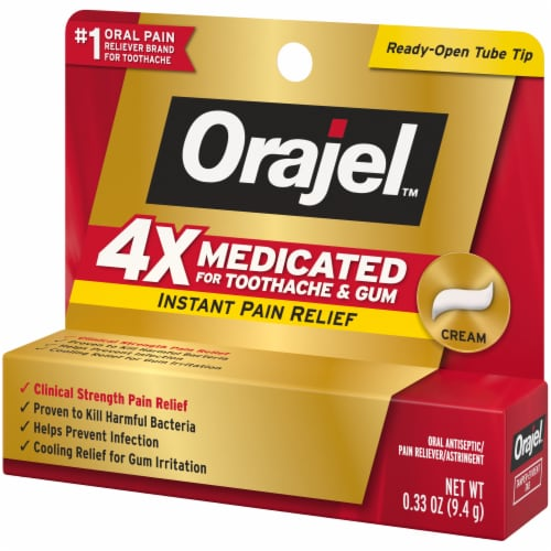 Orajel 4x Medicated Toothache & Gum Instant Pain Relief Cream Perspective: right