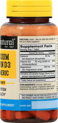 Mason Natural® Magnesium & D3 with Turmeric Tablets Perspective: right