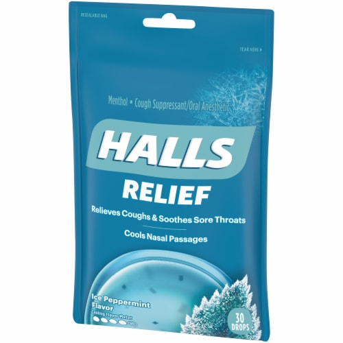 HALLS Relief Ice Peppermint Flavored Menthol Cough Drops 30 Count Perspective: right