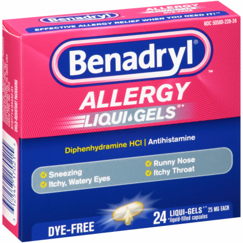 Benadryl Allergy Dye-Free Liqui-Gels Dye-Free Capsules 25mg Perspective: right